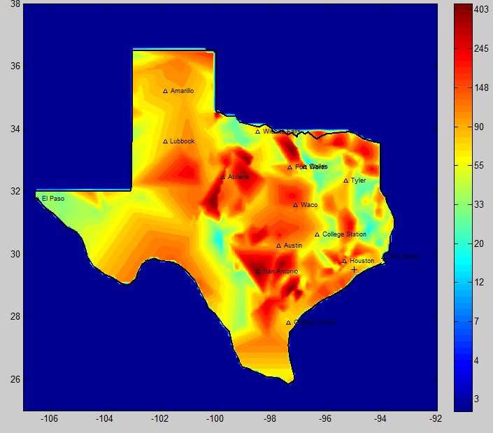 Maximum recurrence interval RImo map for Texas for 1920 to 2005